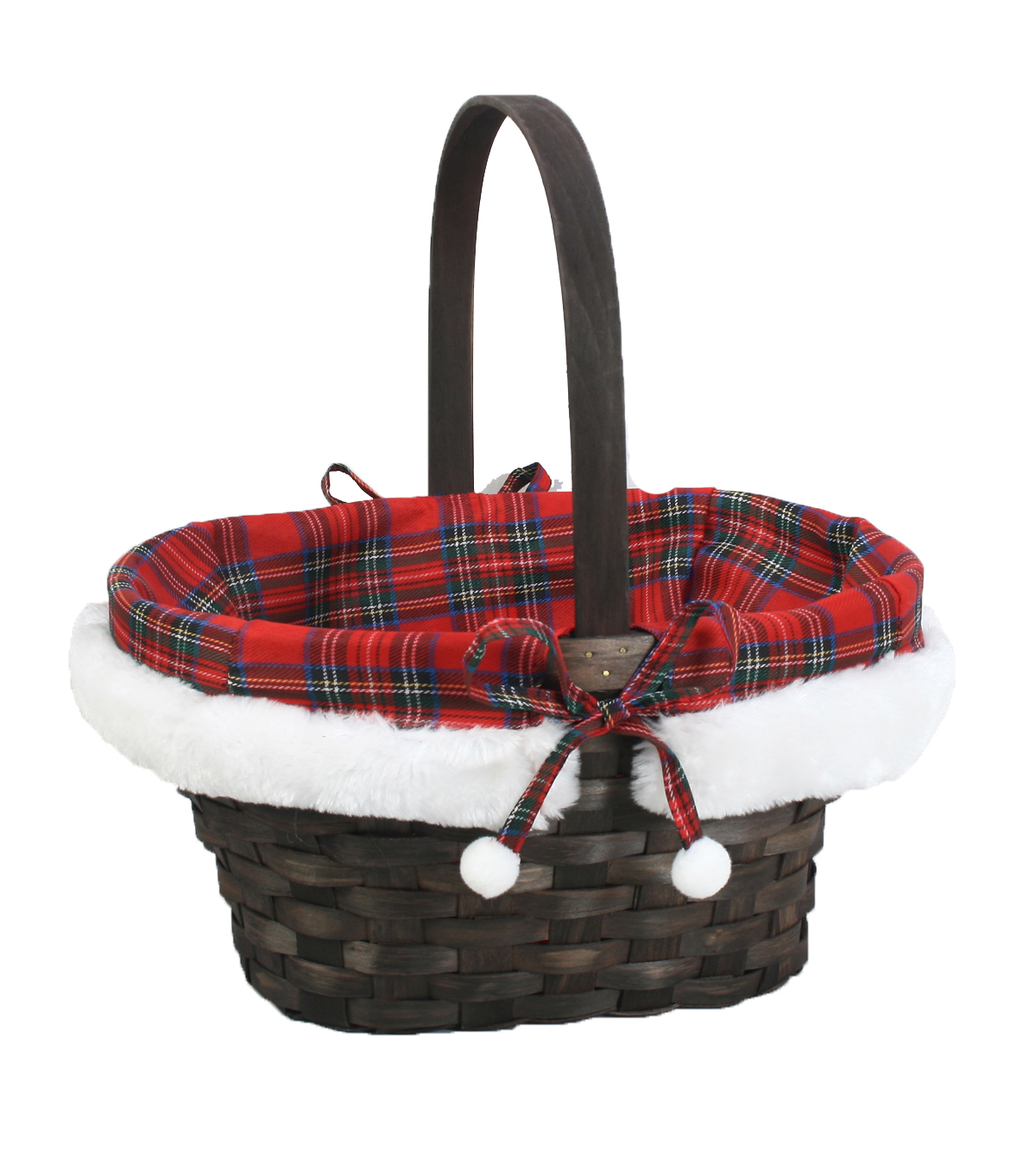 Maker\u0027s Holiday Large Plaid and Fur Liner Basket with Pom Poms