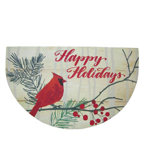 Maker\u0027s Holiday Christmas Semi-circle Rubber Mat-Happy Holidays/Cardinal