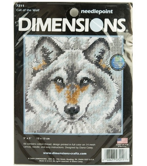 Dimensions Mini Needlepoint Kit Call Of The Wolf