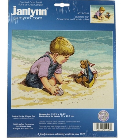 Janlynn Seashore Fun Counted Cross Stitch Kit-13-3/4\u0022x10-3/4\u0022