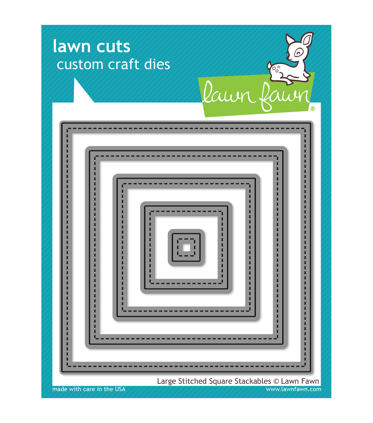 Lawn Fawn Lawn Cuts Custom Craft Die -Large Stitched Square Stackables