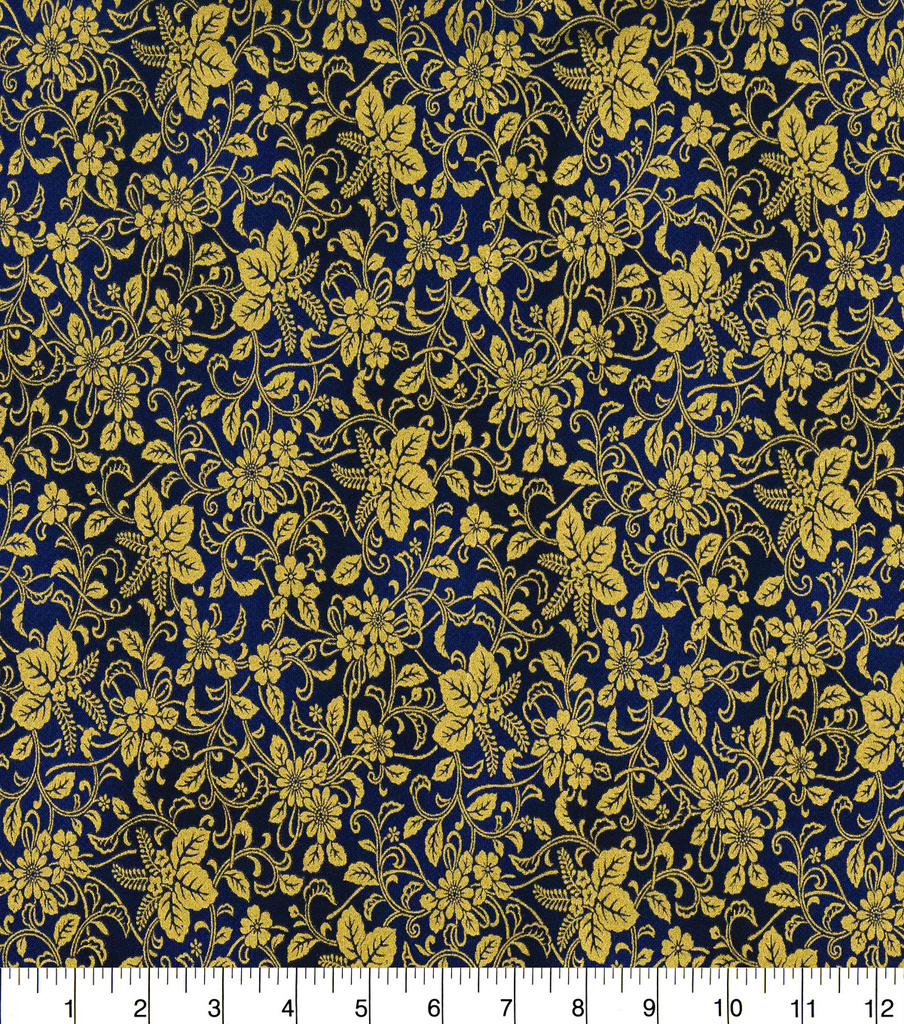 "Asian Inspired Cotton Fabric 43""-Floral Vines Blue Metallic"