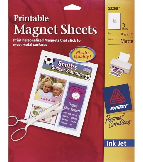 Ink Jet 8-1/2\u0022X11\u0022 Printable Magnet Sheets-Matte White