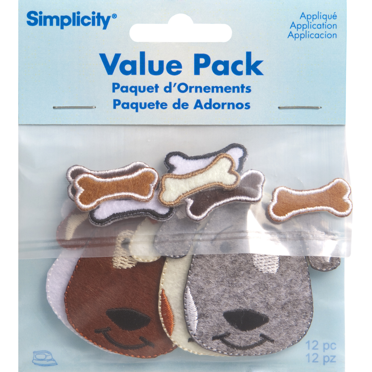 Puppies Iron On Applique Pack, 12 pcs