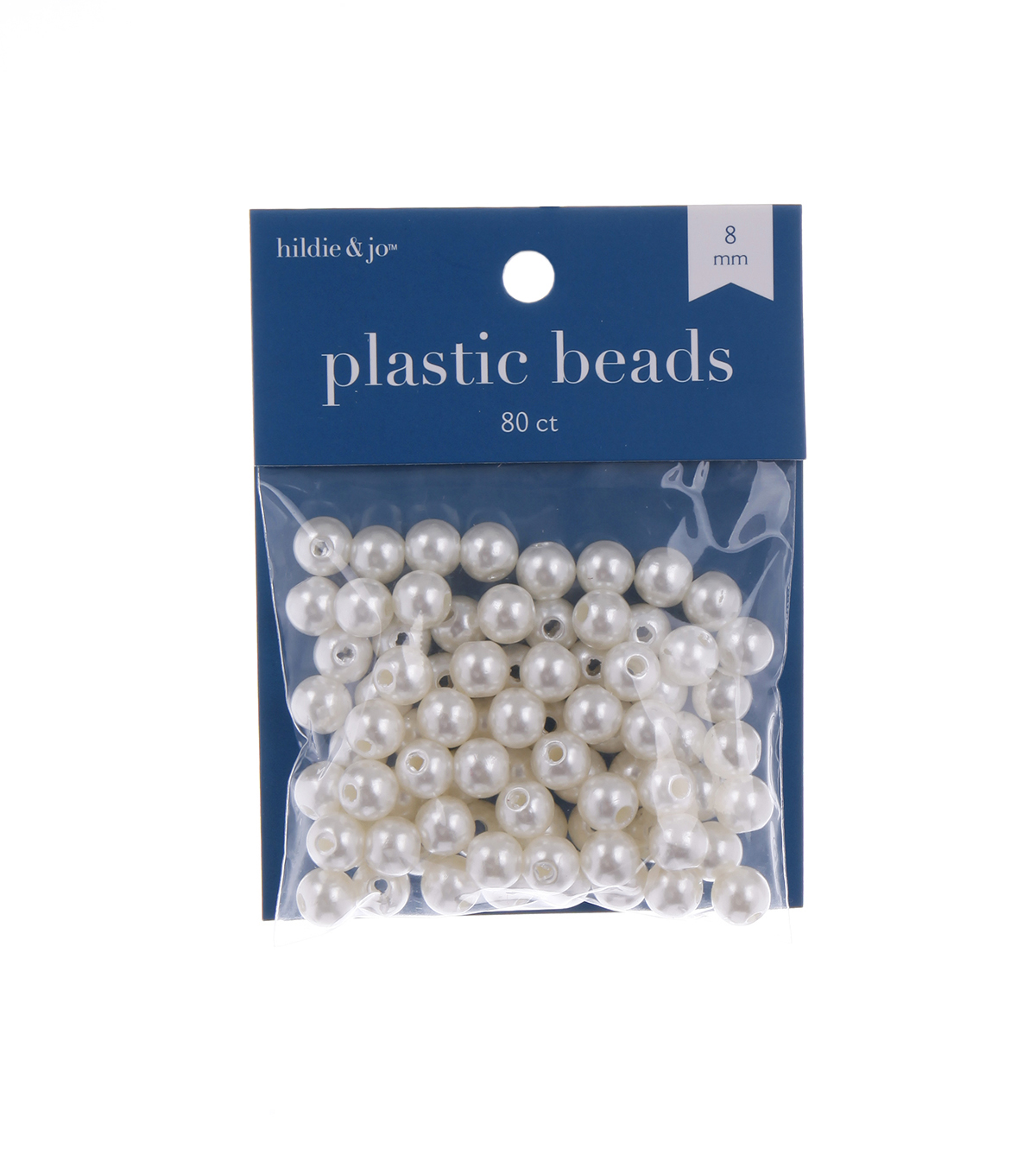 8mm Round Pearl Beads, Cream Colored, 80pcs.