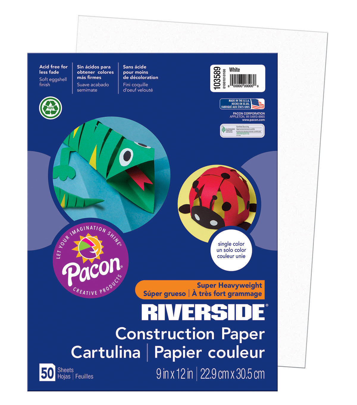 Busy Kids Learning Riverside Construction Paper-White