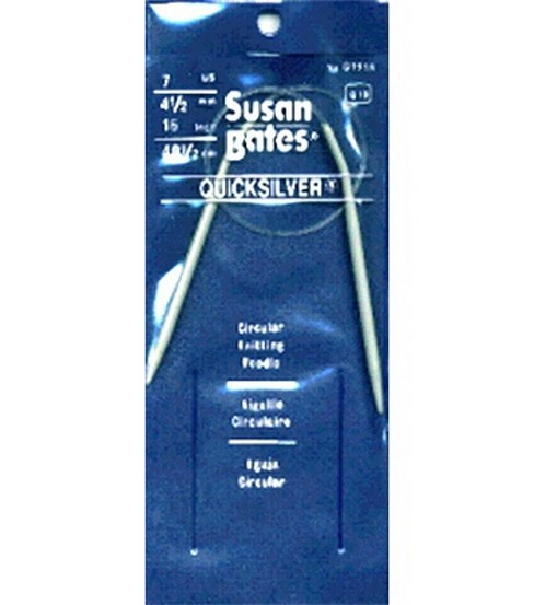 Susan Bates Quicksilver Circular Knitting Needles 16\u0022-Size 7