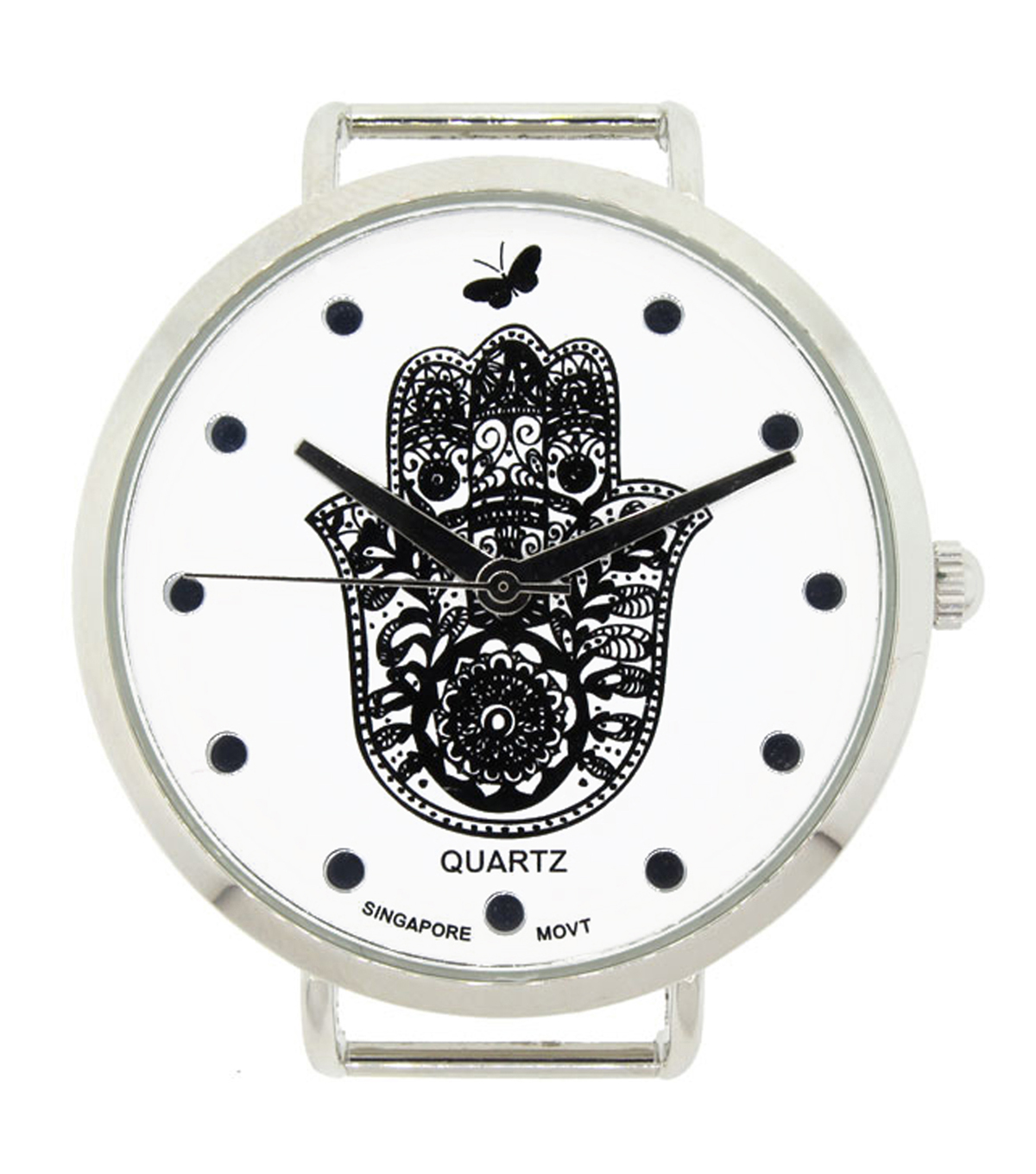 Build Your Own Watch Black/Silver Hamsa Dial Watch Case