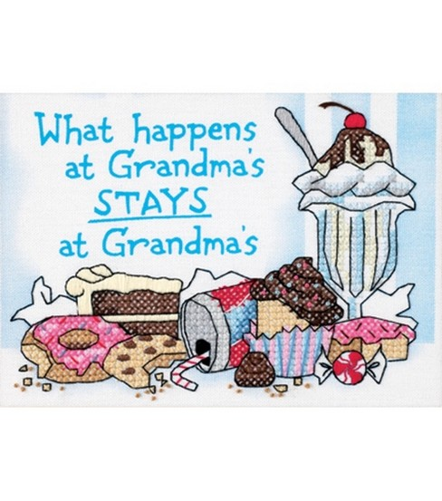 Dimensions What Happens At Grandma\u0027s Mini Stamped Cross Stitch Kit