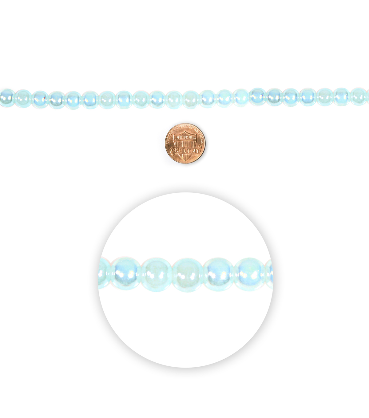 Blue Moon Beads 7\u0022 Strand Glass Bead 8mm Aqua AB