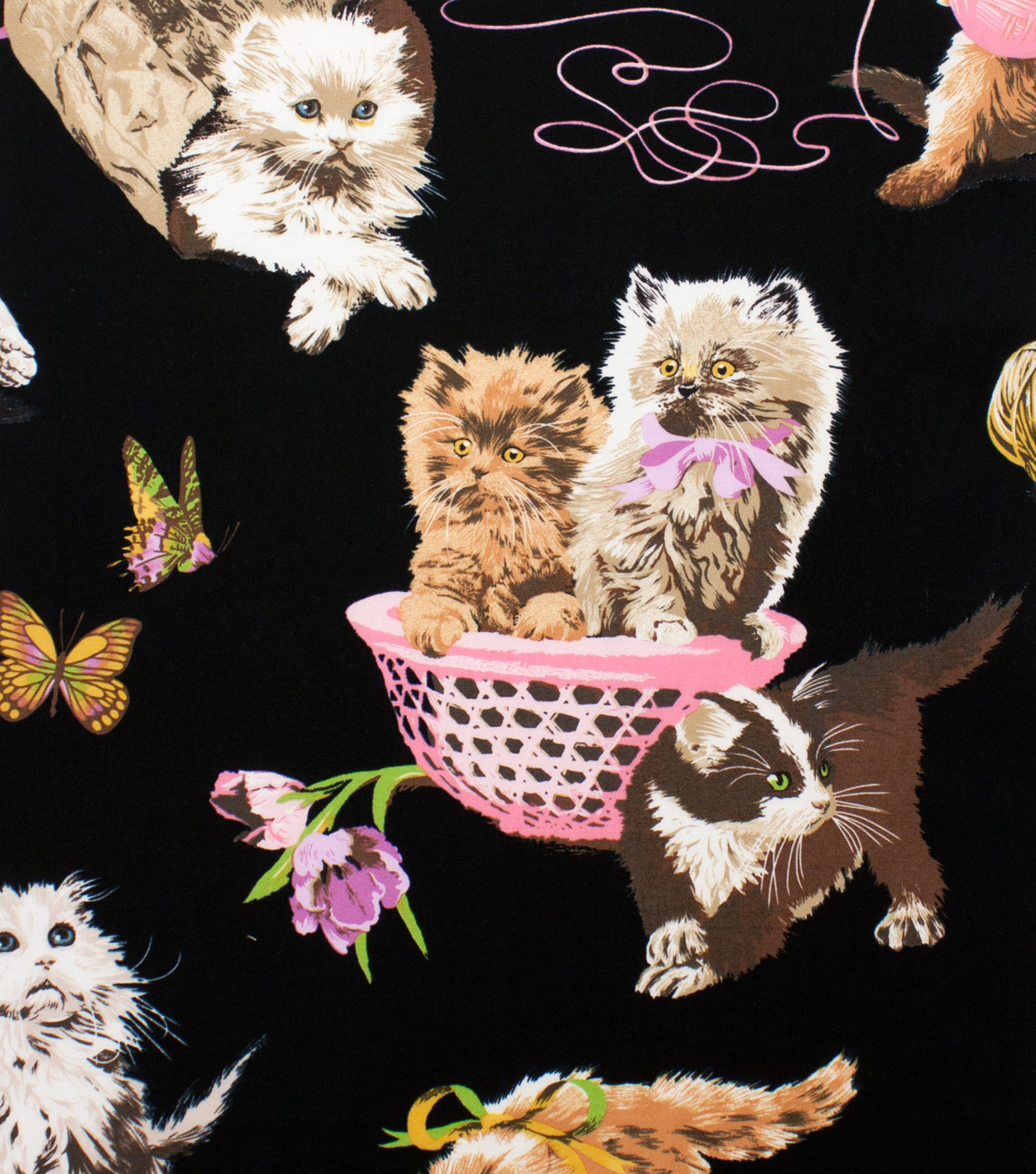 Alexander Henry Cotton Fabric 44\u0022-What\u0027s New Pussycat Black