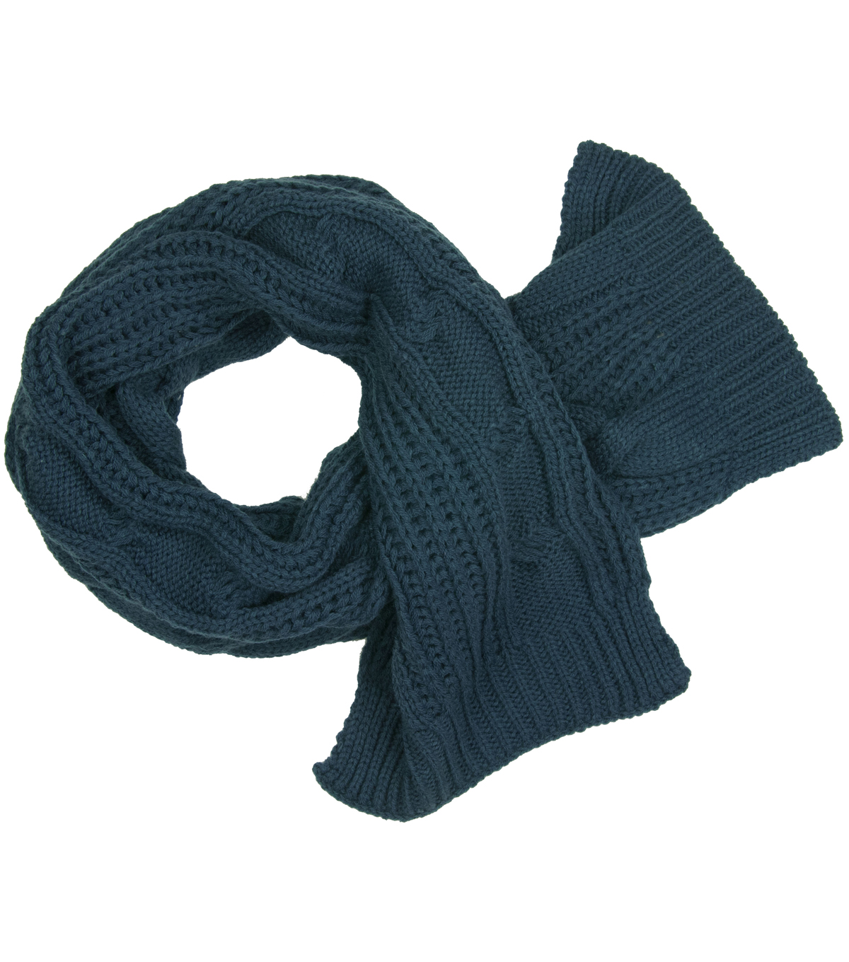 Laliberi Winter Knit Cable Scarf In Teal
