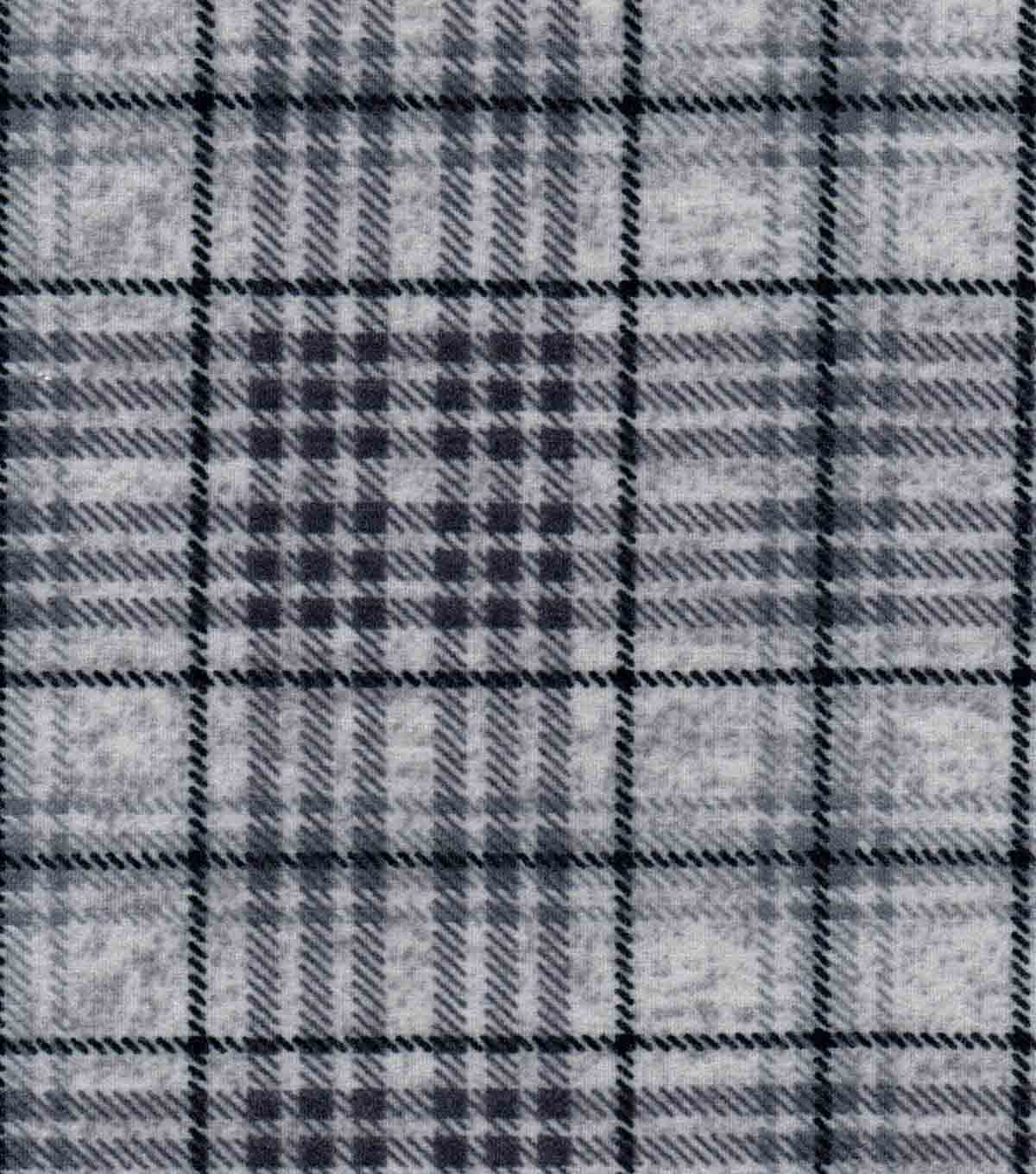 Luxe Flannel Fabric 42\u0022-Gray Heather Plaid