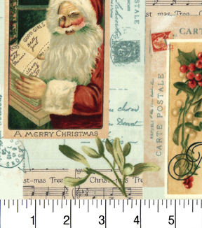 "Maker's Holiday Cotton Fabric 43""-Christmas Wishes Postage"