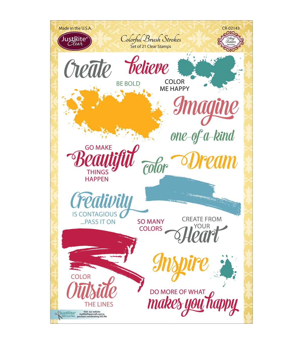 JustRite Papercraft Colorful Brush Strokes Clear Stamp Set
