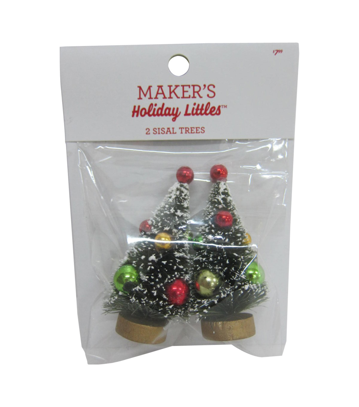 Maker's Holiday Christmas 2 pk Sisal Trees with Ornaments-Red & Green