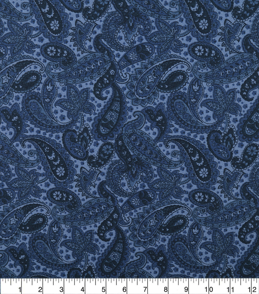 "Wide Quilt Cotton Backing Fabric 108""-Navy Paisley"