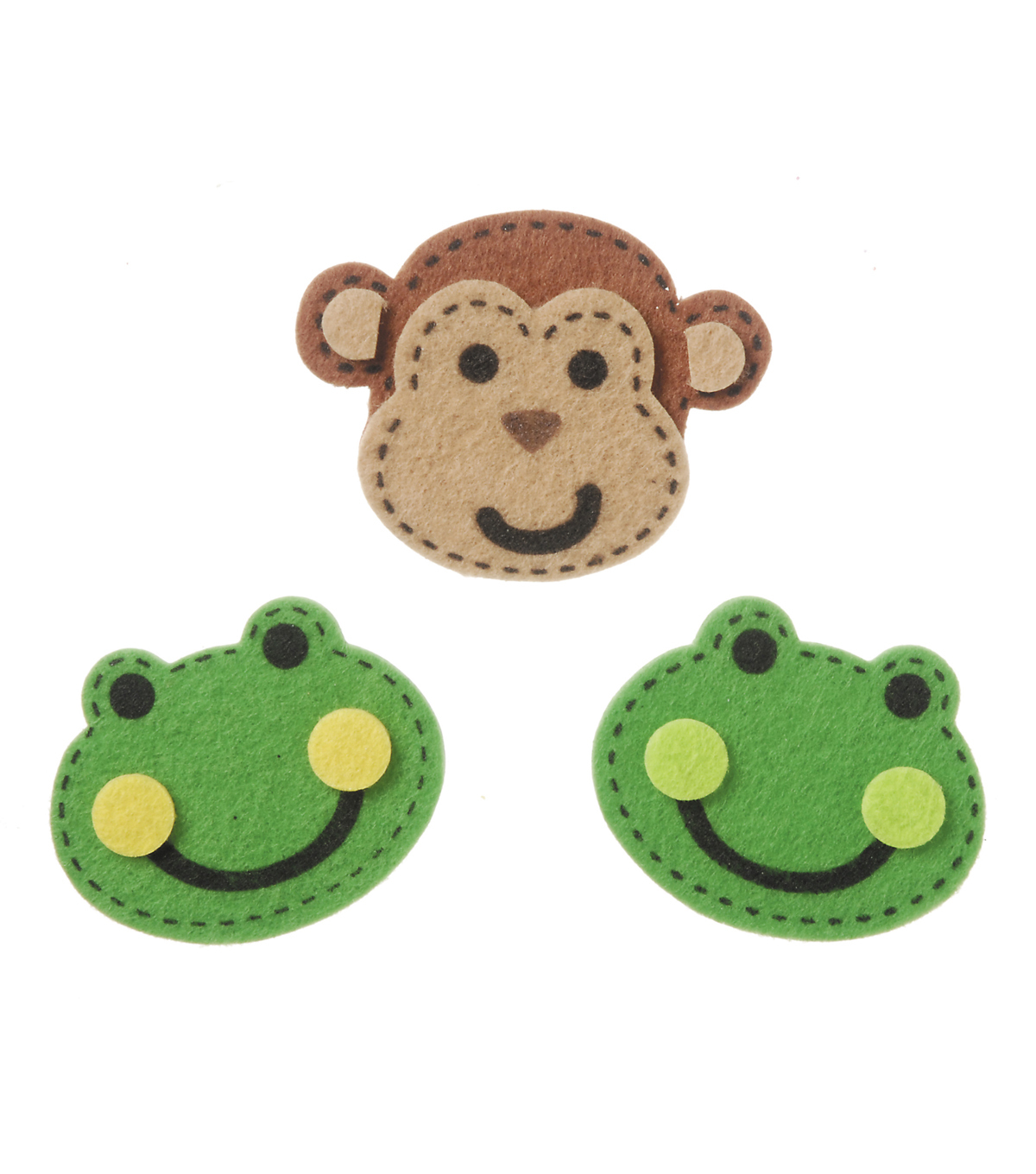 Stickers Small Felt Frog Monkey w/Stitches, 16pc