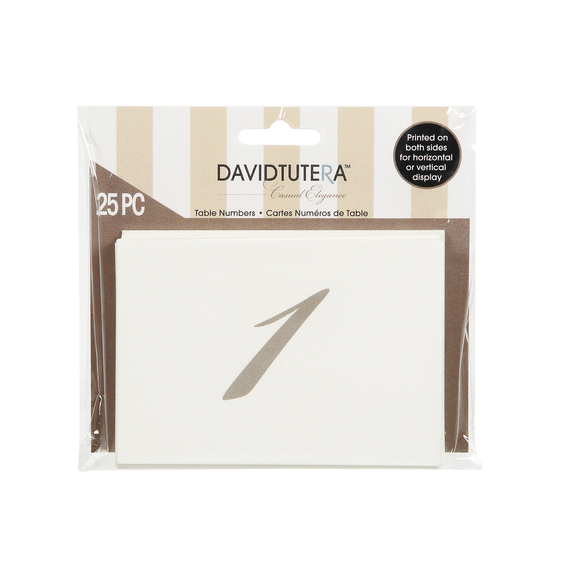David Tutera Casual Elegance Double Side Number Cards, Cream/Brown Print