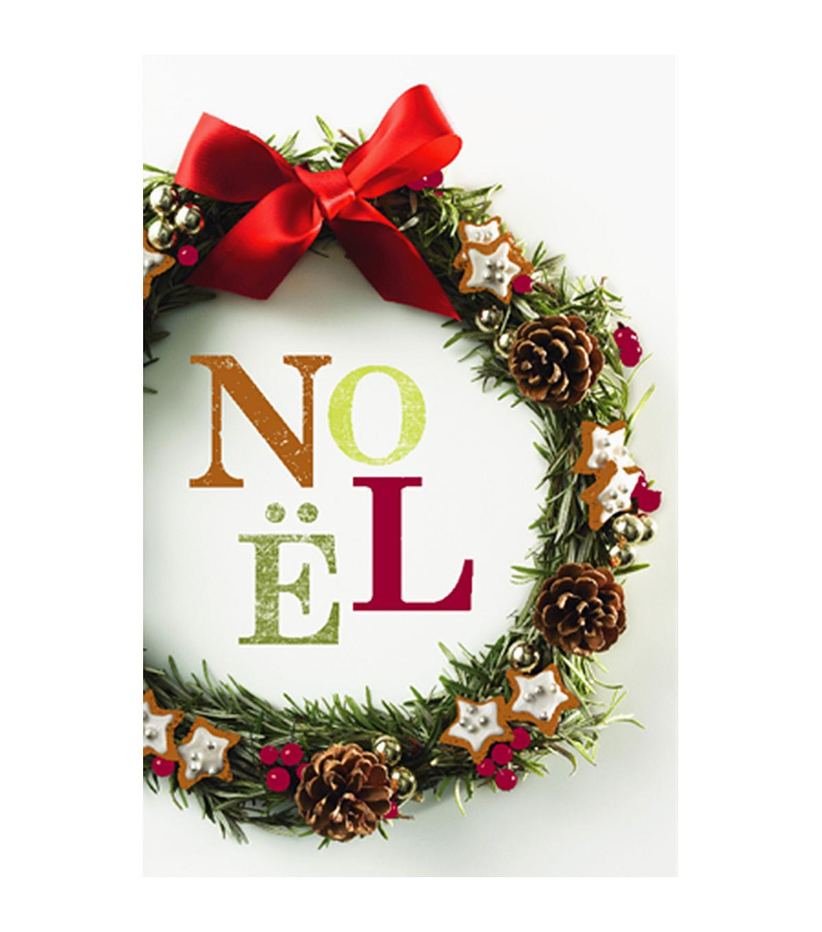 Photo Folk Noel Wreath Holiday Cards