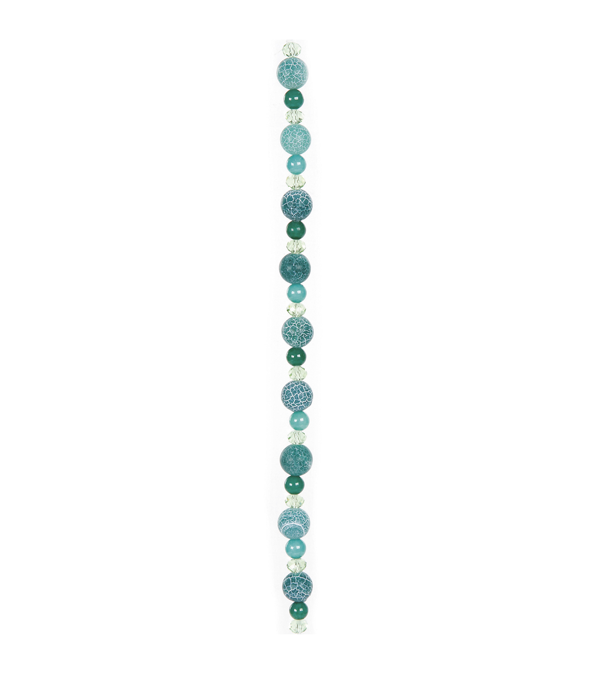 7\u0022 Green Crackle Strung Glass Beads - 10mm Round