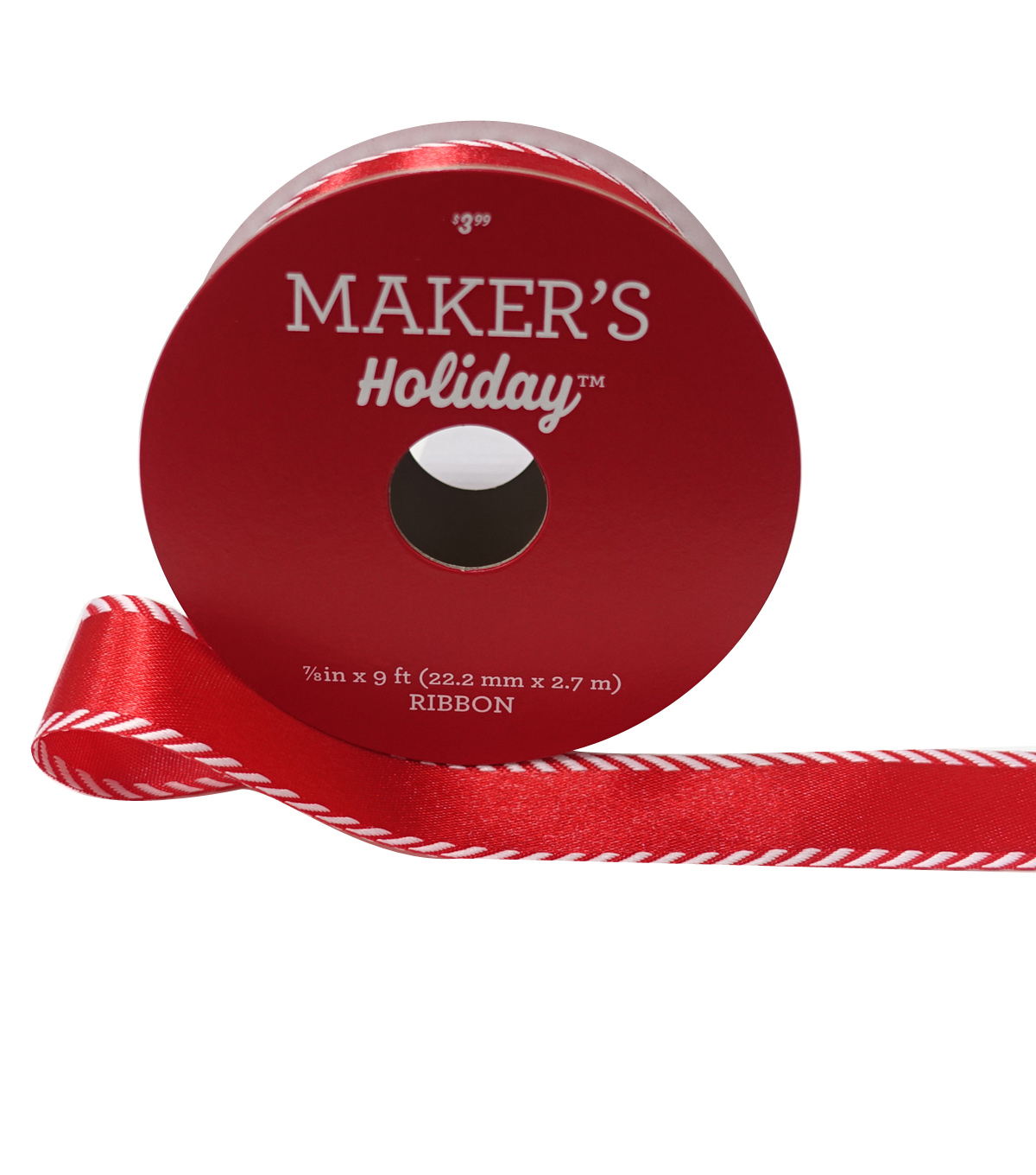 Maker's Holiday Christmas Ribbon 7/8''x9'-Red with Twill Border