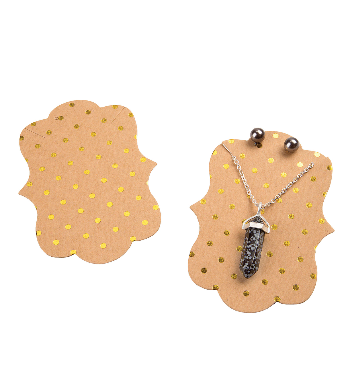 Necklace & Earring Cards-Kraft/Gold Polka Dots 24pk