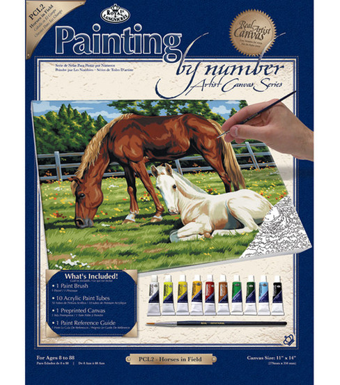 11\u0027\u0027x14\u0027\u0027 Paint By Number Kit-Horses In Field