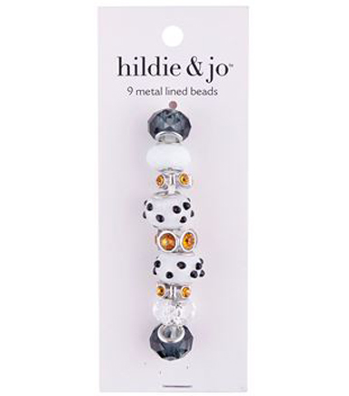 hildie & jo™ Metal Lined Glass Beads-Black Spot on White
