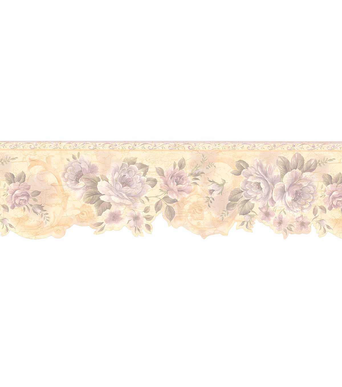 Flower Scroll Die-Cut Wallpaper Border, Cream