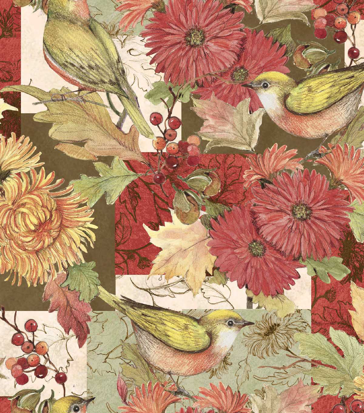 Susan Winget Cotton Fabric 44''-Mums & Marigolds Patch