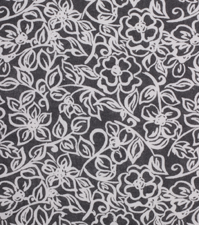 1930\u0027s Cotton Fabric 43\u0027\u0027-Floral Outlines on Gray