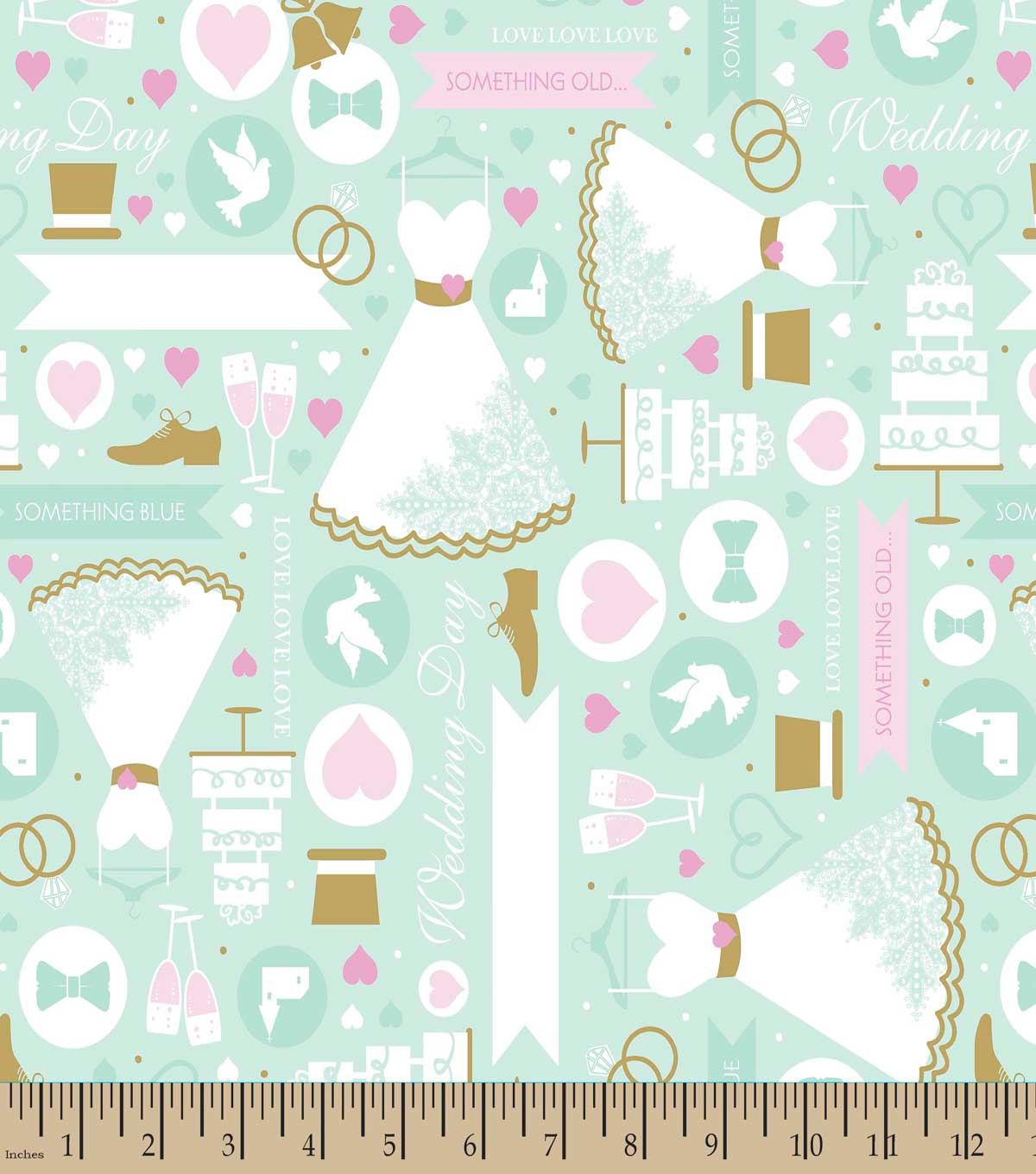 Something Old Something New Wedding Print Fabric