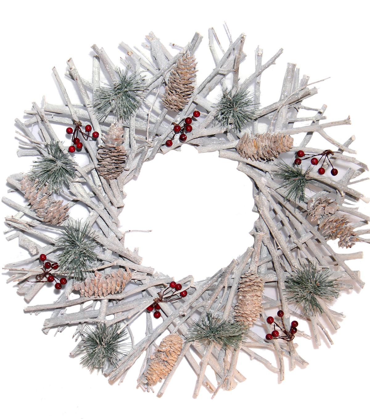 Blooming Holiday 18'' Twig, Pinecone & Berry Wreath