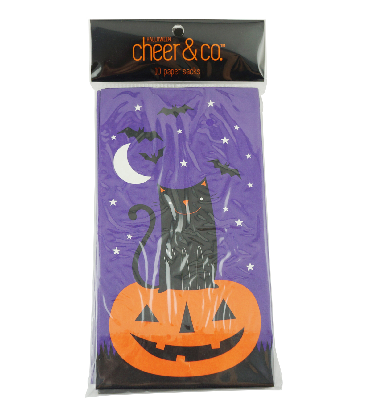 Cheer & Co. Halloween 10 pk Paper Sacks-Pumpkin & Cat