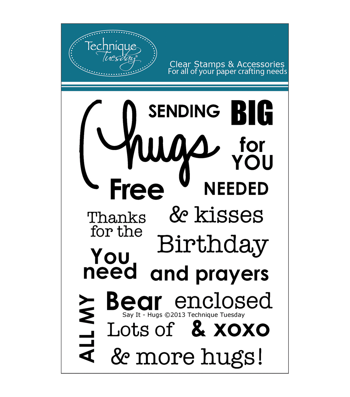 Technique Tuesday Clear stamps Say It-Hugs