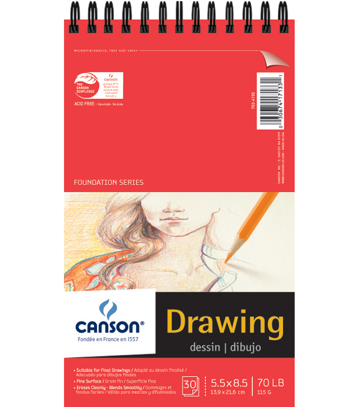 Proart-Canson Foundation Drawing Pad Wire Bound 5.5\u0022X8.5\u0022 30 Pages