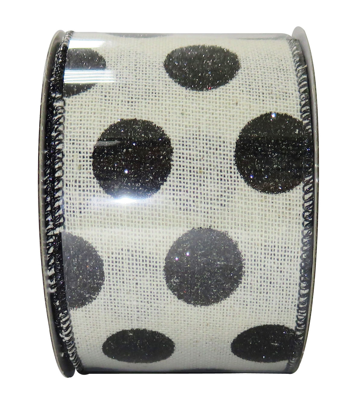 Decorative Ribbon 2.5\u0027\u0027 X 15\u0027-Black Glitter Dot