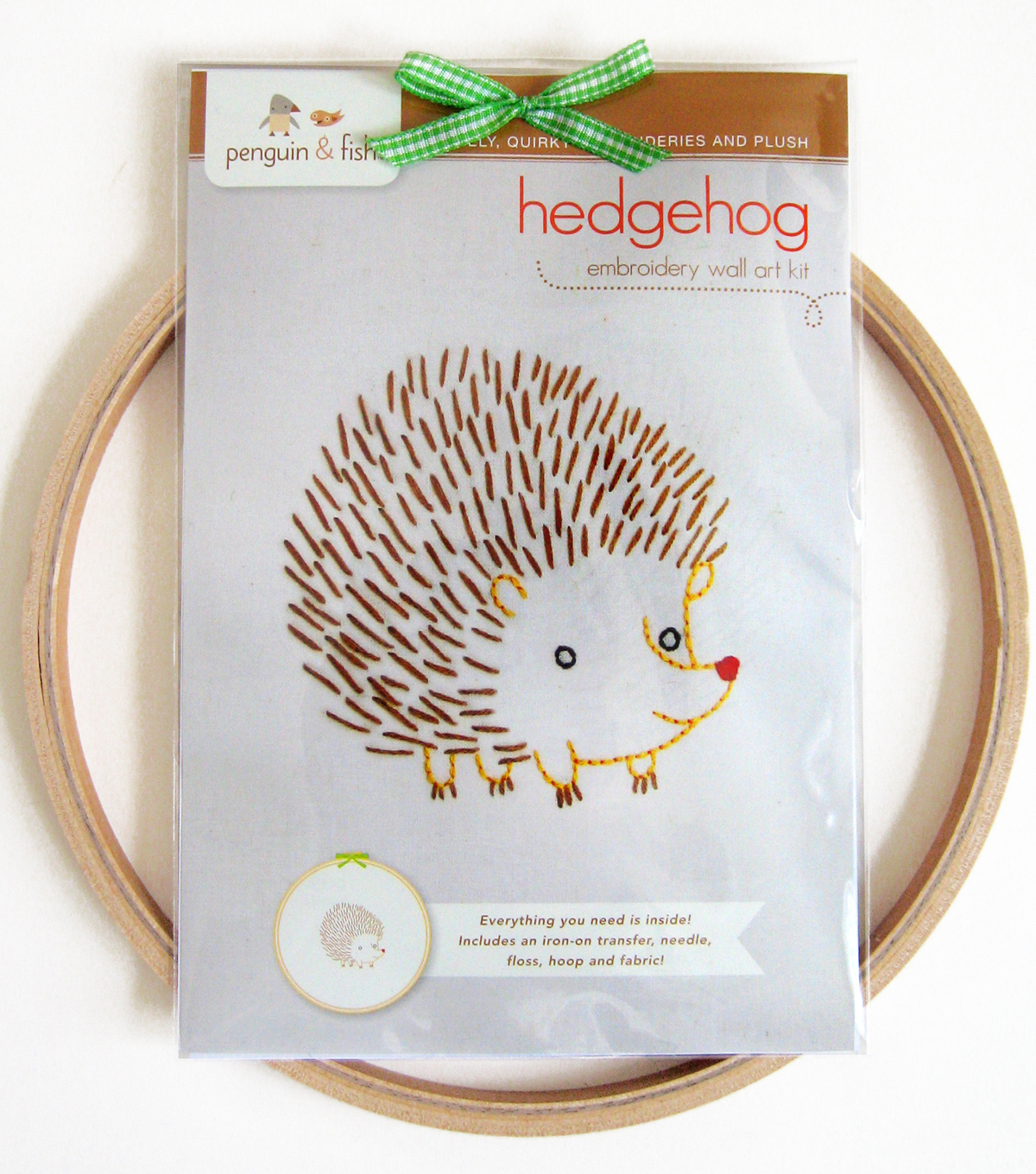 "Penguin & Fish Embroidery Kits 8"" Round Stitched In Floss-Hedgehog"