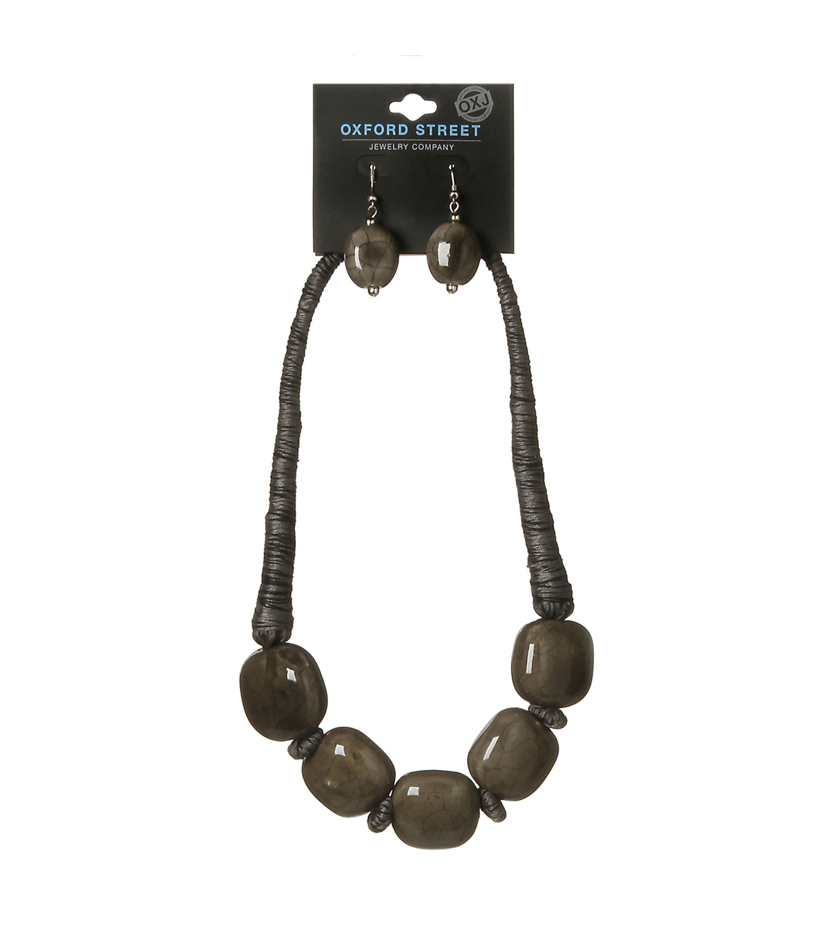Oxford Street Jewelry Co. Large Brown Beaded Necklace w/Earrings