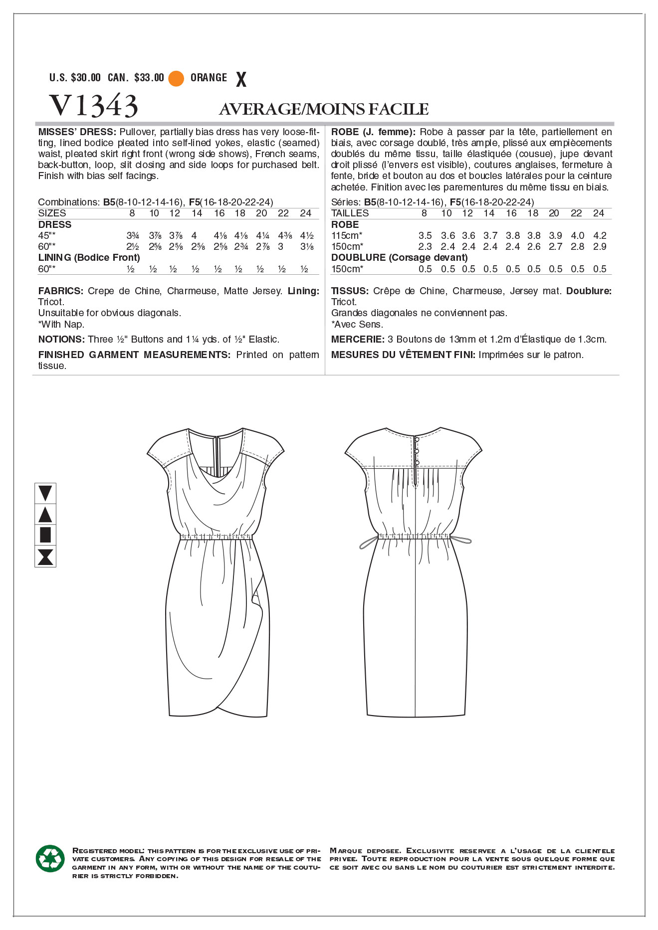 Vogue Patterns Misses Dress-V1343