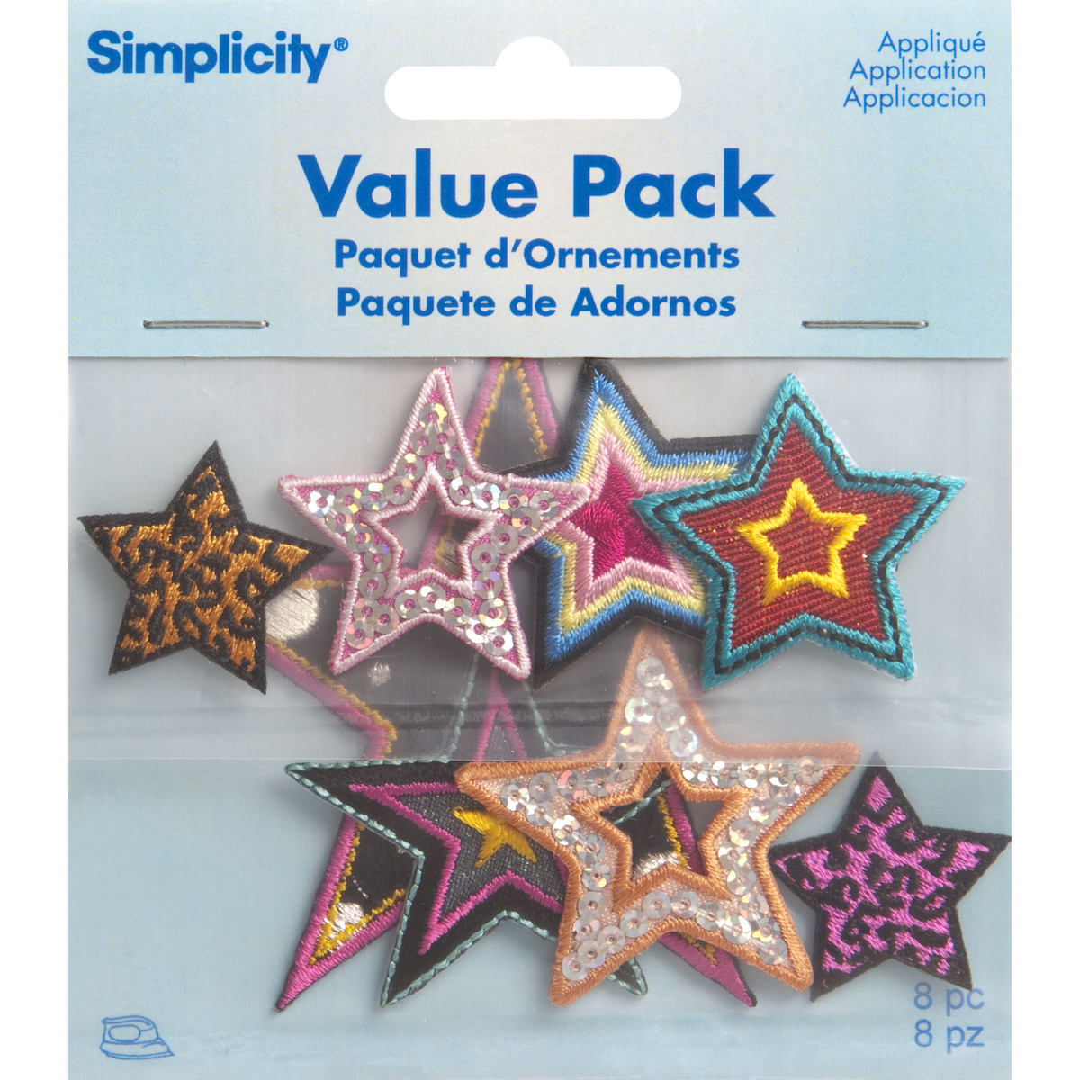 Assorted Stars Iron On Applique Pack, 8 pcs