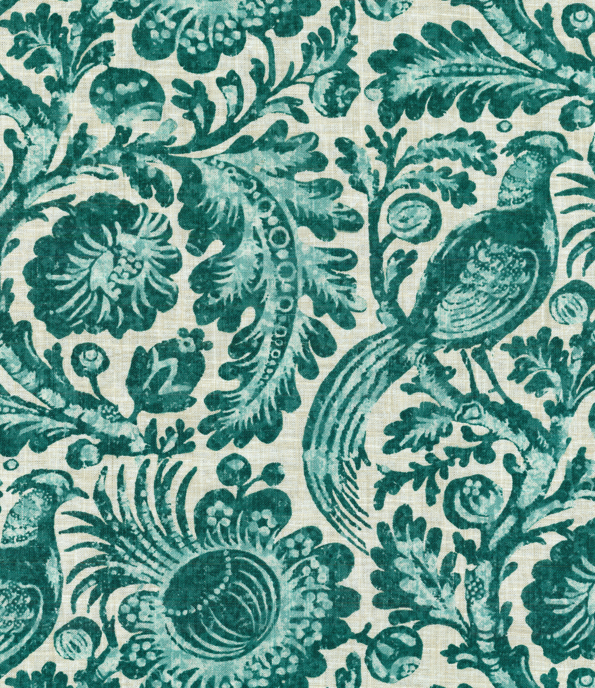 Williamsburg Print Fabric 54\u0022-Tucker Resist/Teal