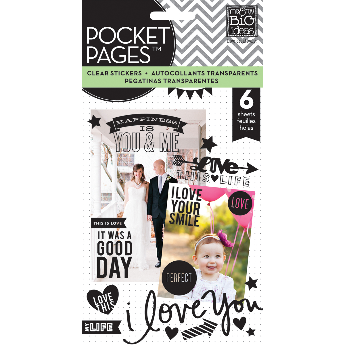 Me & My Big Ideas Pocket Pages Clear Stickers Love