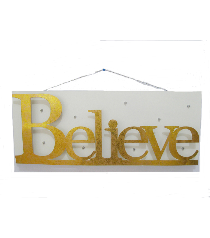 Maker\u0027s Holiday Wall Decor-Gold Believe