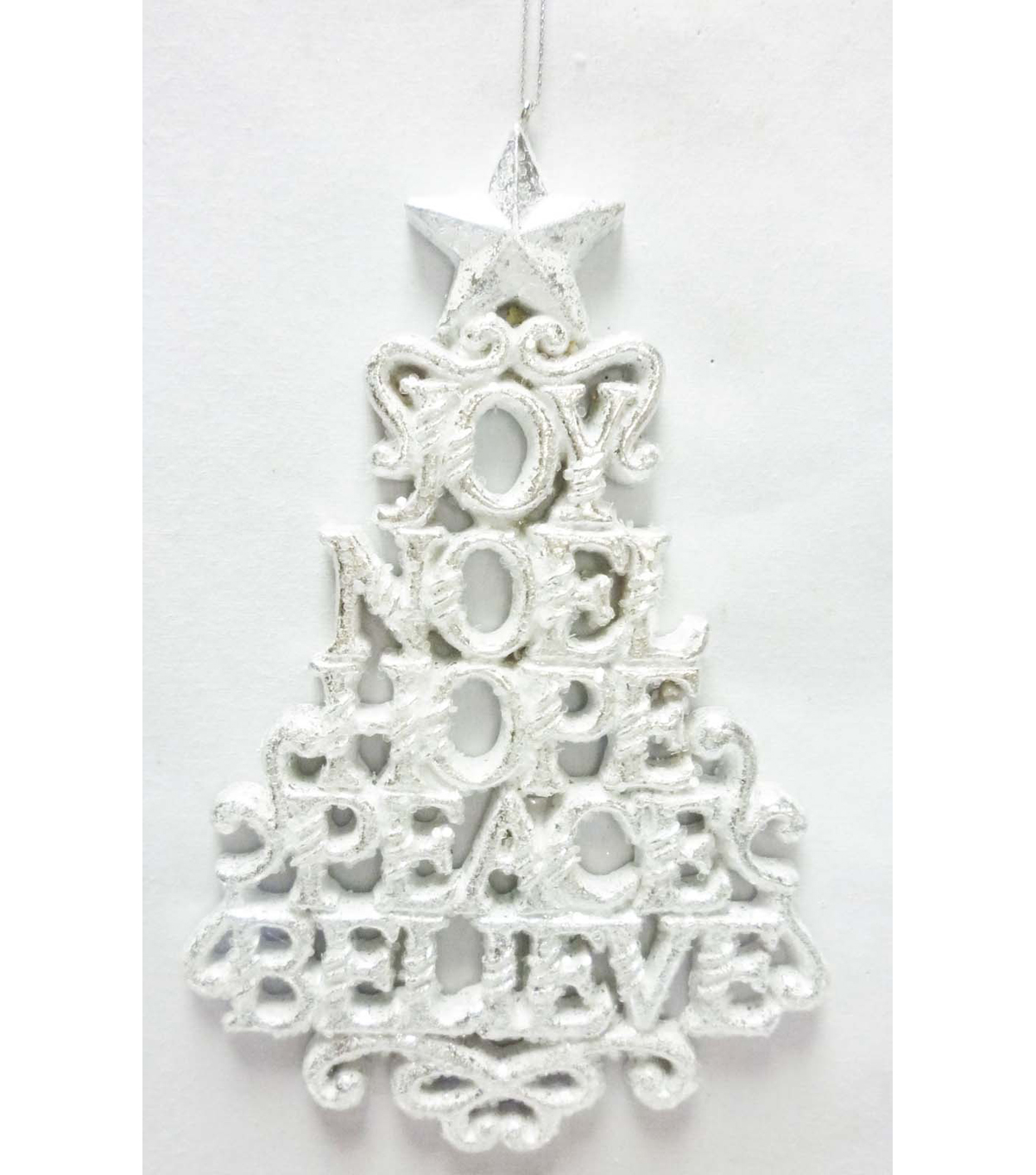 Maker's Holiday Words Tree Ornament-White