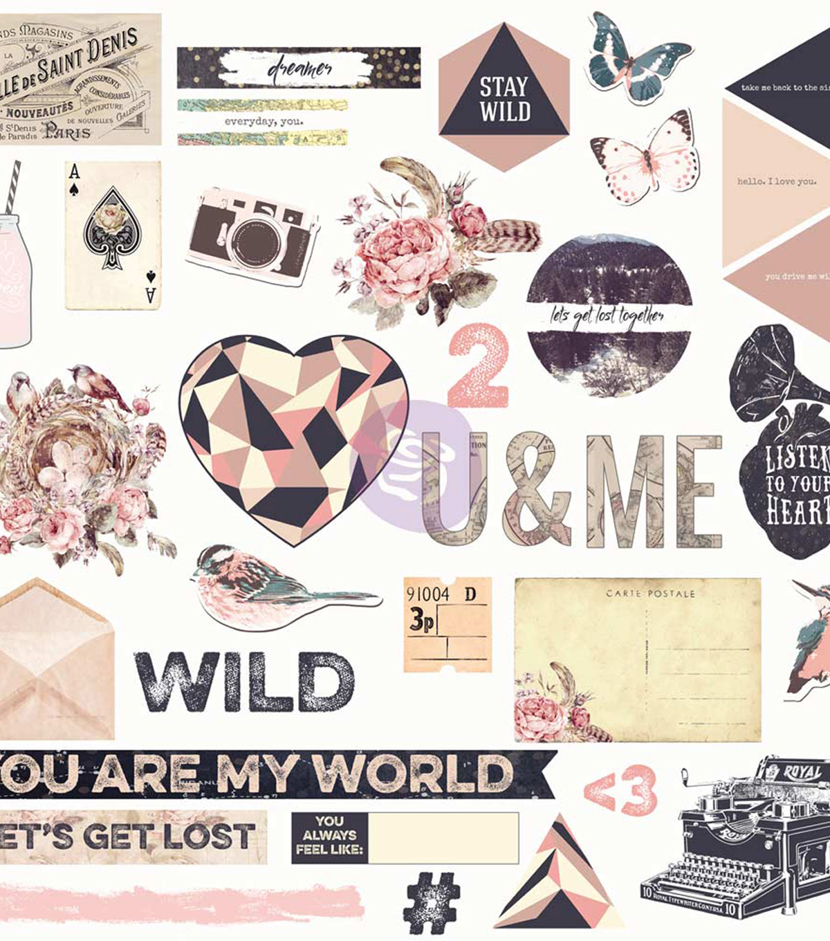 Prima Marketing Wild & Free 140 pk Chipboard Stickers & Sequins