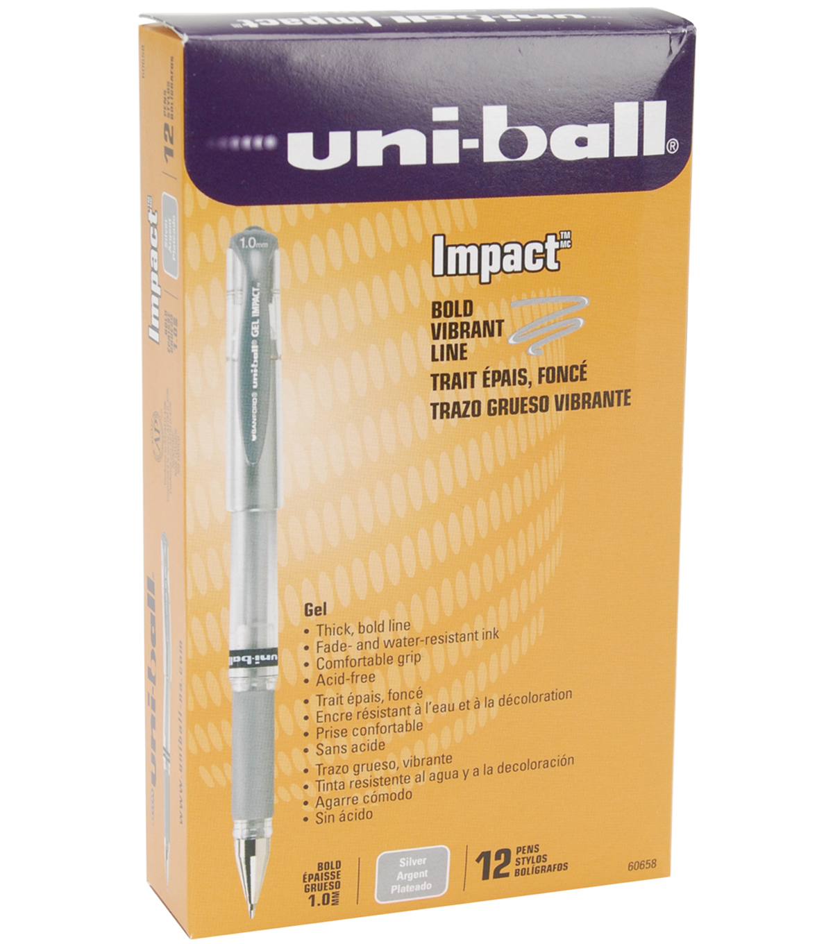 Uni-Ball Impact Bold Point Gel Pen Open Stock-Silver