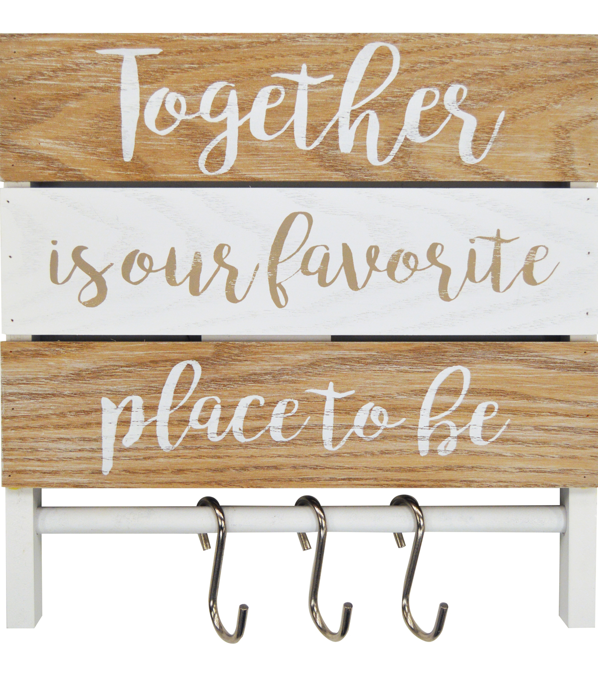 Together is Our Favorite Place To Be Plank Decor with Hooks