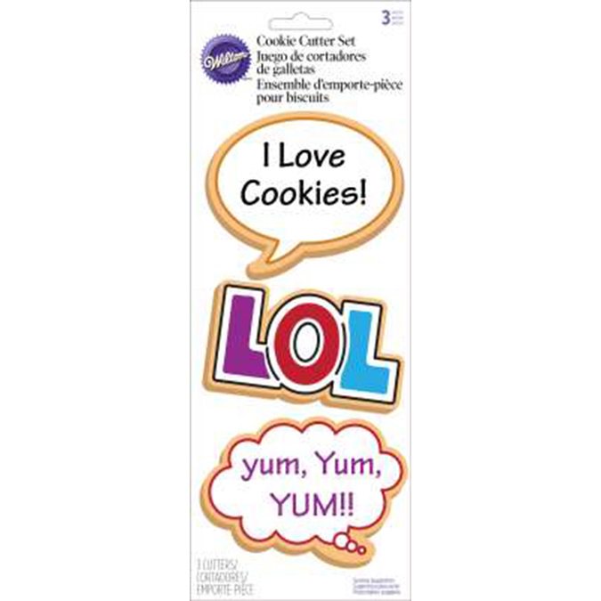 Wilton® Cookie Cutter 3pc Set-LOL, Talk and Bubble